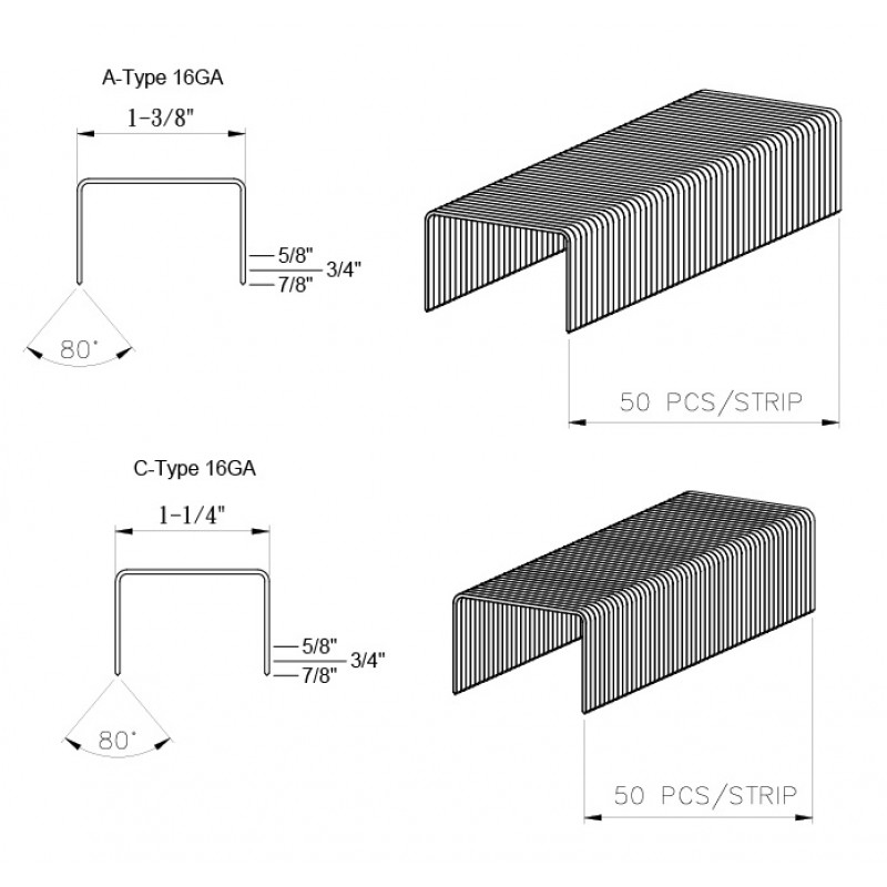 "C-Type, 1-1/4"" Crown Carton Closing Staples"